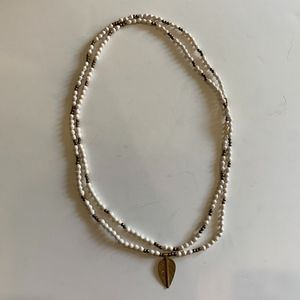 Akola white and gold beaded long wrap necklace